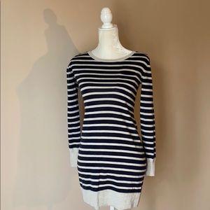 Lightweight navy and grey sweater dress